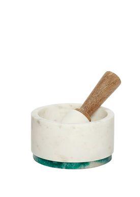 Hübsch - Mortar - Marble Mortar - White/Green