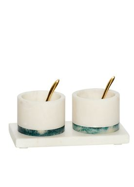 Hübsch - Salt - Salt & Pepper Marble Set - White