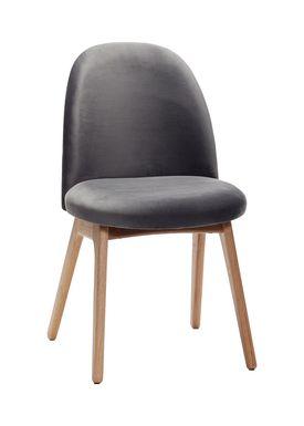 Hübsch - Stol - Chair w/ wooden legs - Small - Black Velour