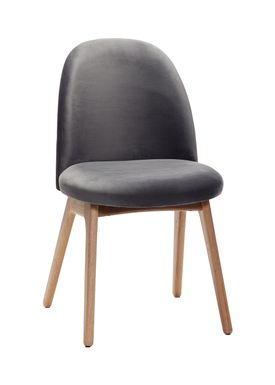 Hübsch - Chair - Chair w/ wooden legs - Small - Black Velour