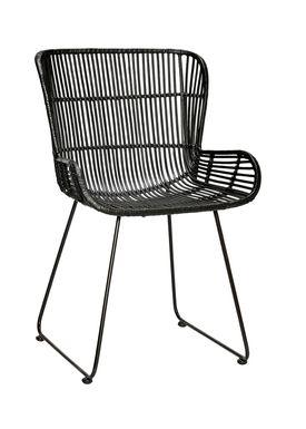Hübsch - Stol - Rattan Chair w/backrest - Black