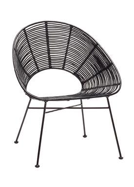 Hübsch - Stol - Round Rattan Hole Chair - Black