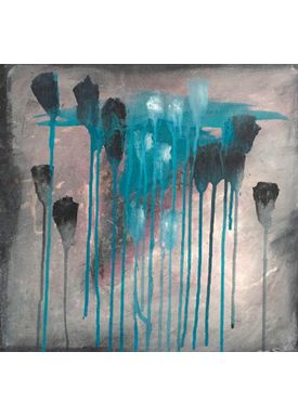 Iren Falentin - Painting - Grey weather 1 - Turquoise