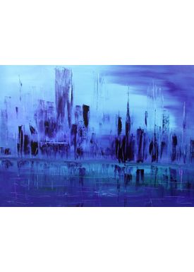 Iren Falentin - Painting - Manhattan Tour blue - Blue