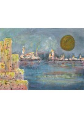 Iren Falentin - Painting - Moon Shadows - Blue