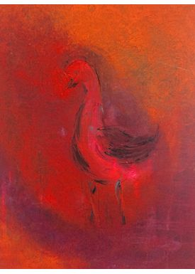 Iren Falentin - Painting - Pink bird - Red