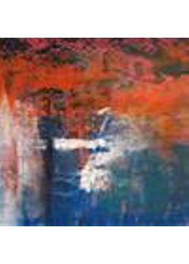 Iren Falentin - Painting - Red sunrice - Red/blue