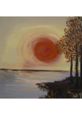Iren Falentin - Painting - The last sunbeams over the lake - Brown
