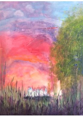 Iren Falentin - Painting - The white town - Multi