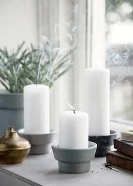 Kähler - Candlestick - Ombria Candle Holder - Granite Green/Block Candle