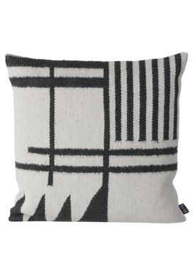 Ferm Living - Cushion - Kelim Cushion Black Lines - Black Pattern