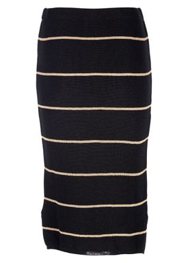Le Mont Saint Michel - Nederdel - Lurex Stripes Skirt - Black/Gold