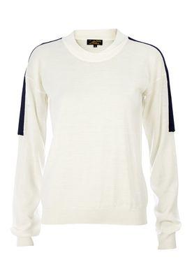 Le Mont Saint Michel - Strik - Crew-neck Contrasting Sweater - Offwhite/Navy