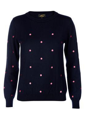Le Mont Saint Michel - Strik - Dots Embroidery Sweater - Navy/Pink