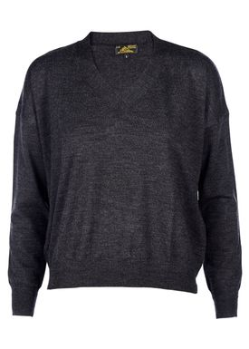 Le Mont Saint Michel - Strik - Extra Fine Merino V-neck - Dark Grey Melange