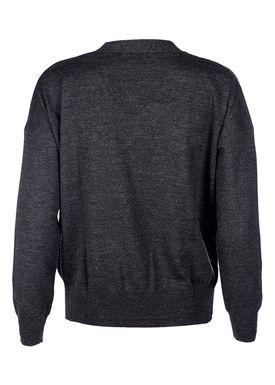 Le Mont Saint Michel - Knit - Extra Fine Merino V-neck - Dark Grey Melange