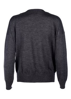 Le Mont Saint Michel - Knit - Extra Fine Merino Wool Round Neck - Dark Grey Melange