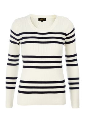 Le Mont Saint Michel - Strik - Striped Laura Sweater - Offwhite/Navy