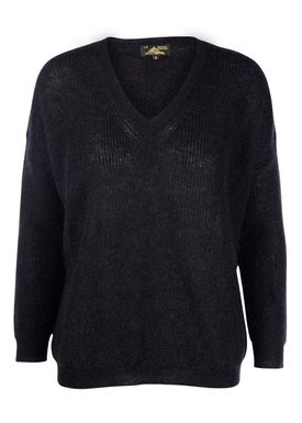 Le Mont Saint Michel - Strik - Superkid Mohair V-neck Sweater - Sort
