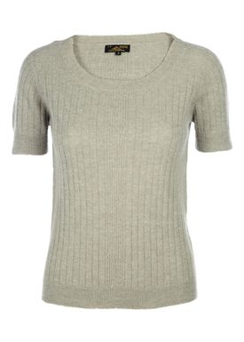 Le Mont Saint Michel - Sweater - Alpaca Sweater Short Sleeve - Støvet Grøn