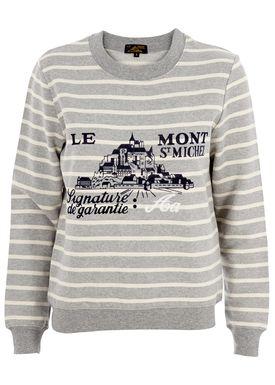 Le Mont Saint Michel - Sweatshirt - Striped Sweat Logo - Grå/Offwhite