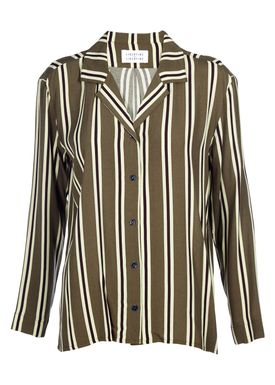 Libertine Libertine - Skjorte - Page Shirt - Olive Green w. stripes