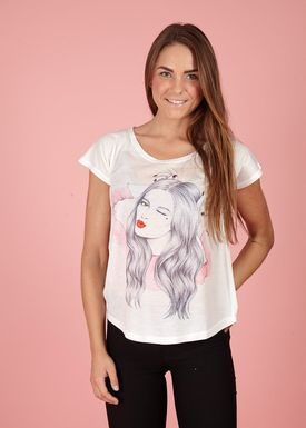 Lily Mcbee - T-shirt - Bliss - Red Lips