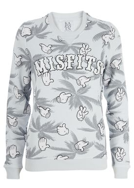 Zoe Karssen - Bluse - Loose Palmtrees Cartoon Sweatshirt - Illusion Blue