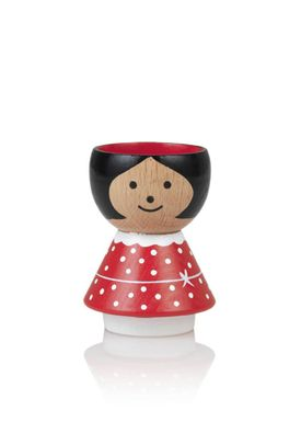 Lucie Kaas - Figure - Bordfolk Girl Egg Cup - Red with Dots