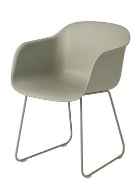 Muuto - Stol - Fiber Chair - Sled Base - Støvet Grøn/Støvet Grøn