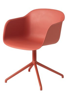 Muuto - Chair - Fiber Chair - Swivel Base - Dusty Red/Dusty Red