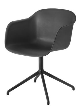 Muuto - Stol - Fiber Chair - Swivel Base - Sort/Sort
