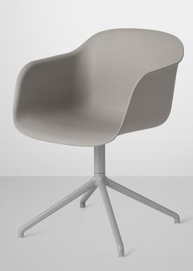 Muuto - Stol - Fiber Chair - Swivel Base - Grå/Grå