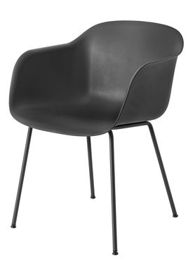 Muuto - Stol - Fiber Chair - Tube Base - Sort/Sorte ben