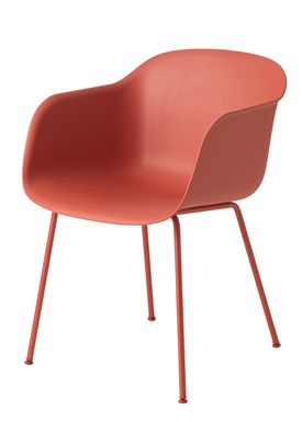 Muuto - Stol - Fiber Chair - Tube Base - Støvet Rød/Røde ben