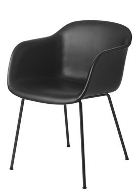 Muuto - Stol - Fiber Chair - Tube Base - Læder/Sort Silke