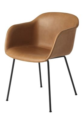 Muuto - Chair - Fiber Chair - Tube Base - Leather/Cognac Silk