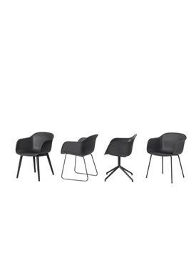 Muuto - Stol - Fiber Chair - Wood Base - Sort/Sort