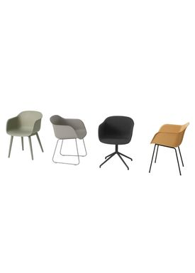 Muuto - Stol - Fiber Chair - Wood Base - Grå/Grå
