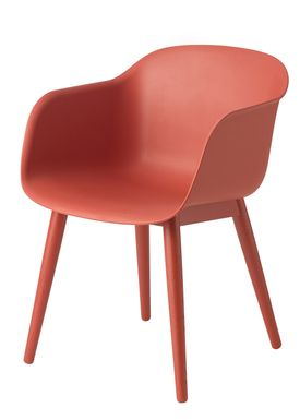 Muuto - Stol - Fiber Chair - Wood Base - Støvet Rød