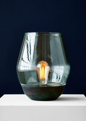 New Works - Bordlampe - Bowl - Irret kobber m. grønt glas