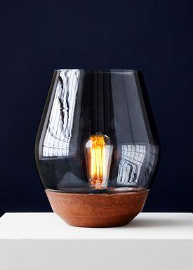 New Works - Bordlampe - Bowl - Rå kobber m. røget glas