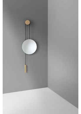 New Works - Mirror - Rise and Shine Wall Mirror / Natural Oak - Natural Oak w. Brass Weight
