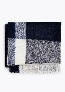 New Works - Tæppe - Check Throw - By Malene Birger - Marine Blue Mohair