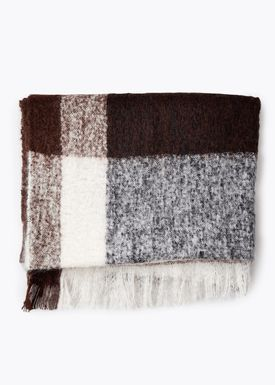 New Works - Carpet - Check Throw - By Malene Birger - Dark Brown Mohair