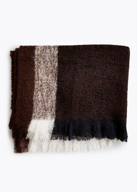 New Works - Tæppe - Check Throw - By Malene Birger - Dark Brown Mohair