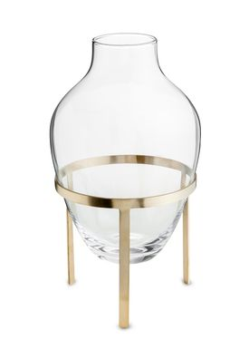 Nordstjerne - Vase - Glass Vase w. Stand - Large - Matt Brass stand