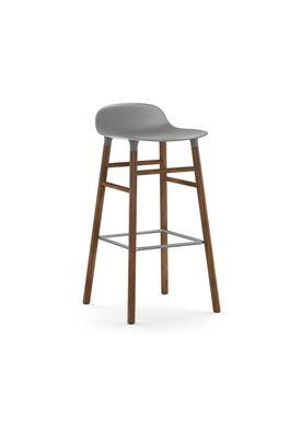 Normann Copenhagen - Stol - Form Barstool - 75 cm - Grå/Valnød