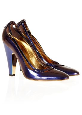 L77011 Stilettos Purple w. Blue Heel
