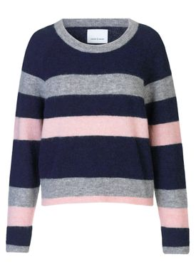 Samsøe & Samsøe - Strik - Nor O-neck  Multi Stripe - Dark Blue Multi